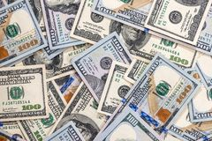 viele 100-Dollar-Banknoten Stockbilder