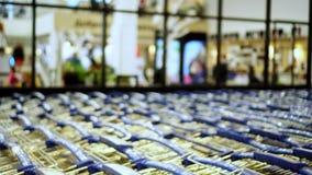 Viele Einkaufslaufkatzen nähern sich Mall stock video