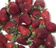 Viele Erdbeeren auf einem weißen Hintergrund Stockbilder