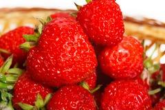 Viele Erdbeeren in einem Korb Stockfotos