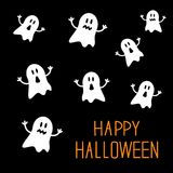 Viele erschrecken Geister Glückliche Halloween-Karte Flaches Design Lizenzfreie Stockfotografie