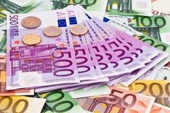 Viele Eurobanknoten Stockbilder