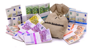 Viele Eurobanknoten als Gruppe Stockfoto
