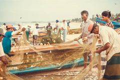 Viele Fischer schätzen den Fang von Fischen auf Strand vom Indischen Ozean Stockbild