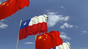 Viele Flaggen von Chile und von China, loopable Animation 3D stock video footage