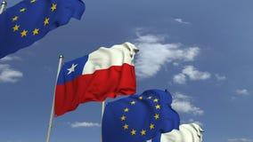 Viele Flaggen von Chile und von EU der Europäischen Gemeinschaft, loopable Animation 3D stock video footage