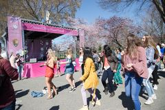 Viele Frauen tanzen auf Festivals lizenzfreie stockfotografie