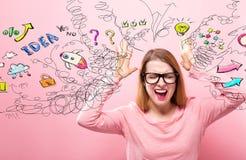 Viele Gedanken mit dem Frauengefühl betont Lizenzfreies Stockfoto