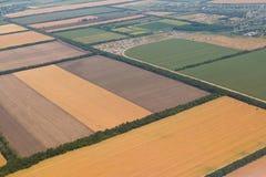 Viele Gelbfelder bevor dem Ernten von einer Vogel ` s Augenansicht stockbild