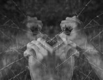 Viele gequälte Hände, die hoffnungslos Stacheldraht auf Schwarzem greifen Stockfoto