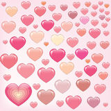 Viele glücklichen rosafarbenen Inneren Stockfotografie