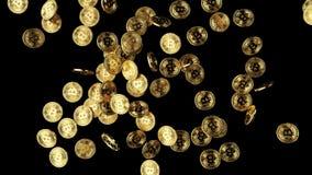 Viele goldener bitcoins 3d Illustration stock abbildung