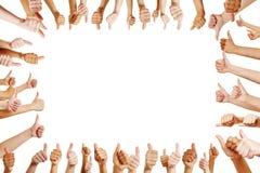 Viele Hände beglückwünschen einen Sieger Stockbild