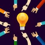 Viele Hände, die für eine Idee zusammenarbeiten ein Birnenlampenglanz Konzept der Teamwork-Zusammenarbeit und -teilnahme herein vektor abbildung