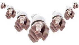 Viele Hände, die Finger auf Sie zeigen Lizenzfreies Stockfoto