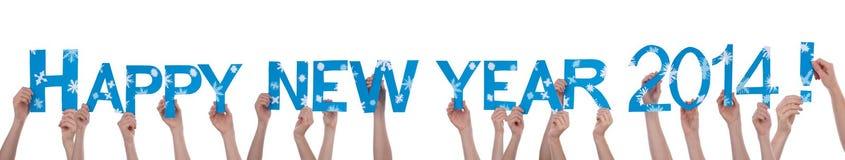 Viele Hände, die guten Rutsch ins Neue Jahr 2014 halten Lizenzfreie Stockfotos