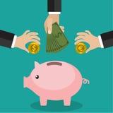 Viele Hände, die Münze und Geld in ein Sparschwein stecken Rettung und Geldkonzept investierend Flache Art lizenzfreie abbildung
