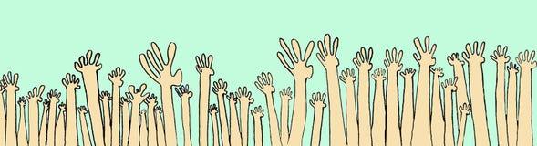 Viele Hände mit Fragen Stockfoto