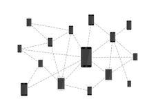 Viele Handys angeschlossen im Netz auf Weiß Stockfoto