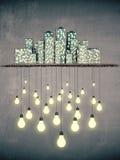 Viele Ideen in der Großstadt, Nachtart-Ideenkonzept Stockfotos