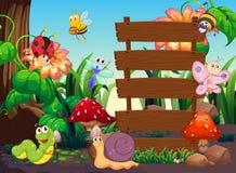 Viele Insekten um Holzschilder Stockfotos
