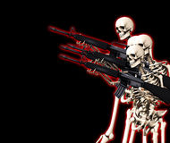Viele kämpfen Skelette Stockbild