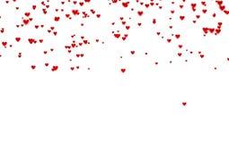 Viele kleine rote Herzen herein oben mit einem Defocus-Effekt lizenzfreie abbildung