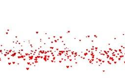 Viele kleine rote Herzen herein unten mit einem Defocus-Effekt vektor abbildung