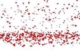Viele kleine rote Herzen mit einem Defocus-Effekt stock abbildung