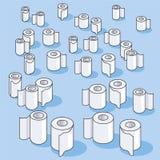 Viele kleinen Toilettenpapierrollen und Papier Stockbild