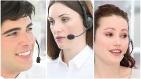 Viele Leute bei der Arbeit in einem Call-Center stock video footage