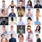 Viele Leute stellen Collage gegenüber Stockfotos