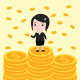 Viele Münzen, Geschäftsfrau haben viele Münzen Stockfotografie