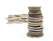 Viele Münzen im Kupfer und im Silber Stockfotografie