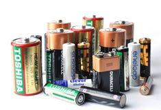 Viele Markenbatterien Stockfotografie