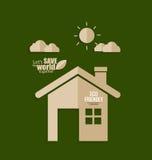 Viele mehr Ökologiebilder in meinem Portefeuille Papierschnitt des Hauses auf grünem Hintergrund Vektor Lizenzfreie Stockbilder