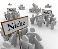 Viele Nischen-Gruppen-Leute gruppiert um Nischen-Zeichen Lizenzfreie Stockfotografie
