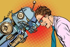 Viele Roboter gegen Menschen, Menschlichkeit und Technologie stock abbildung