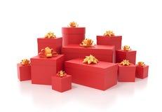 Viele roten Geschenkkästen Lizenzfreie Stockfotos
