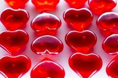 Viele roten Herzen als transparenter Hintergrund Stockfotografie