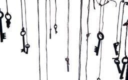 Viele rustikalen Schlüssel, die an der Schnur hängen Selektiver Fokus Getrennt Lizenzfreie Stockfotos