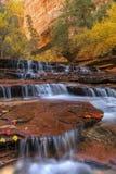 Viele Schichten von Zion Red Waterfalls Lizenzfreie Stockbilder