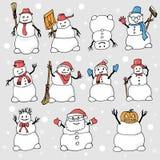 Viele Schneemänner mit verschiedenen Gegenständen und Haltungen stock abbildung