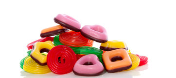 Viele Sortierungen der bunten Süßigkeit Stockfoto