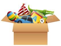 Viele Spielwaren im braunen Kasten Stockfoto