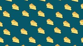 Viele Stücke Käse verschiebend auf blauem Hintergrund, nahtlose Schleife animation Gelbe Karikaturscheiben des Käses in horizonta vektor abbildung