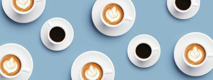 Viele Tasse Kaffees und Cappuccino Lizenzfreies Stockbild