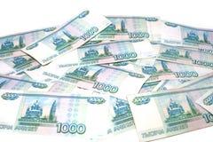 Viele Tausenden Konzept der russischen Rubel Finanzund feng shui lizenzfreie stockfotografie