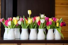 Viele Tulpen in den Schüsseln Stockfotografie
