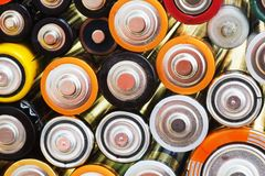 Viele verschiedenen Batterien Stockbilder
